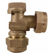 """1"""" QUICK JOINT COMPRESSION X 3/4"""" METER SWIVEL ANGLE VALVE NO LEAD"""