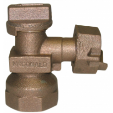 """3/4"""" FEMALE NATIONAL PIPE THREAD X 3/4"""" METER SWIVEL ANGLE METER VALVE PLUG STYLE WITH LOCK WING NO LEAD"""