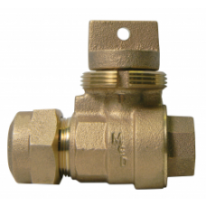 "3/4"" Female National Pipe Thread X 3/4"" CTS Minneapolis Pattern Ball Valve Curb Stop No Lead"