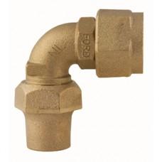 """3/4"""" Female Copper Thread Swivel Nut X 3/4"""" Flare Copper Quarter Bend Coupling No Lead"""